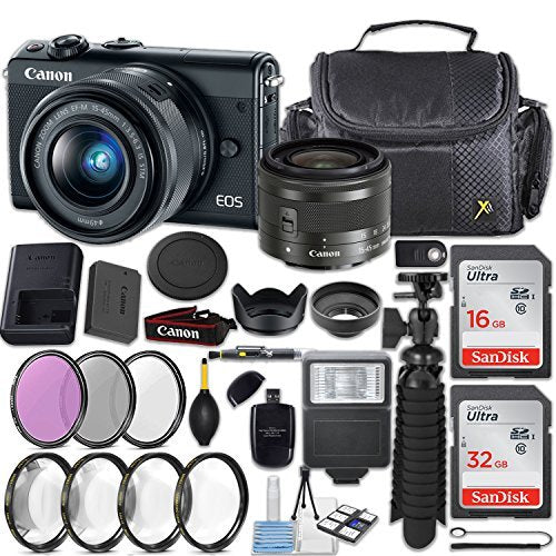 Canon EOS M100 24.2MP Mirrorless Digital Camera (Black) + EF-M 15-45mm f/3.5-6.3 IS STM Lens (Graphite) + 48GB Memory + Filters & Macros + Spider Tripod + Slave Flash + Professional Accessory Kit