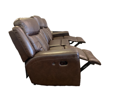 Brown Leather Reclining Loveseat with USB