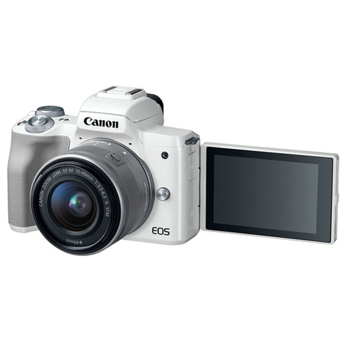 Canon EOS M50 Mirrorless Digital Camera (White) + EF-M 15-45mm f/3.5-6.3 IS STM Lens (Silver) + 64GB Memory Card + Camera/Camcorder Bag + Quality Tripod + UV Filter + USB Card Reader + Accessories