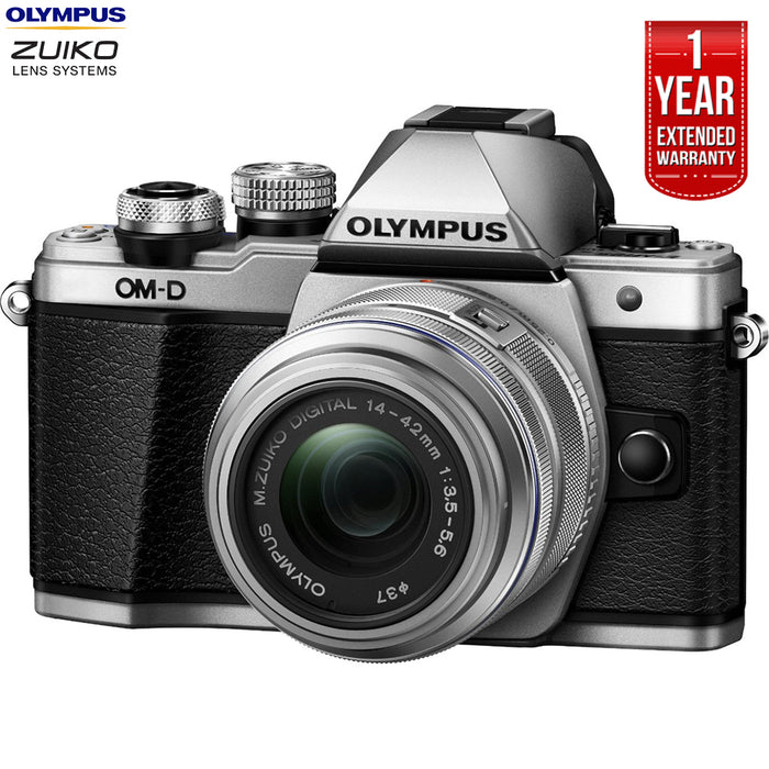 Olympus OM-D E-M10 Mk II Mirrorless Digital Camera w/ 14-42mm IIR Lens Silver (V207051SU000B) + 1 Year Extended Warranty (Certified Refurbish)