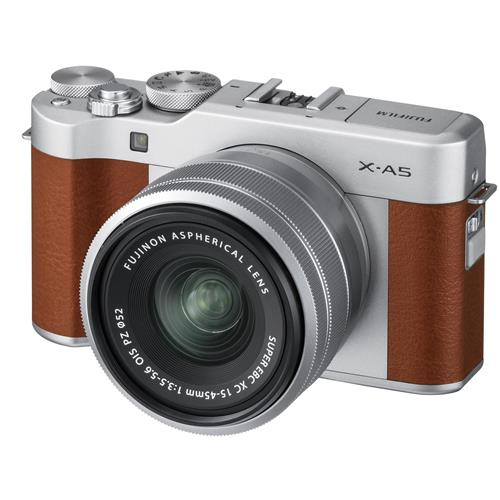 Fujifilm X-A5 24.2MP Mirrorless Digital Camera with XC 15-45mm f/3.5-5.6 OIS PZ Lens, Brown