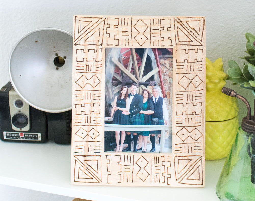 DIY MUD CLOTH WOOD BURNED FRAME by ClubCrafted