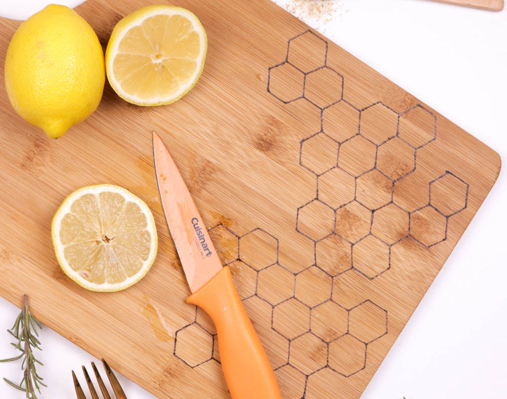 DIY Honeycomb Wood Burned Cutting Board by ClubCrafted