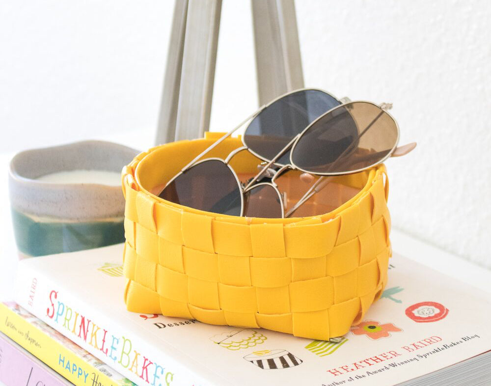 DIY Leather Woven Storage Basket by ClubCrafted