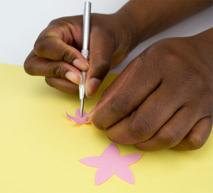 embossing star shapes on cutting mat