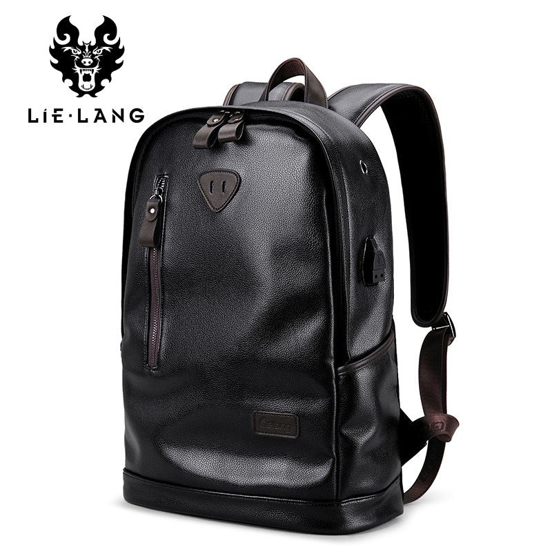 76a85d861571 Leather Male Functional bags Men Waterproof backpack