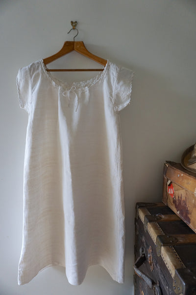 Antique French Linen Dress Scalloped Edge