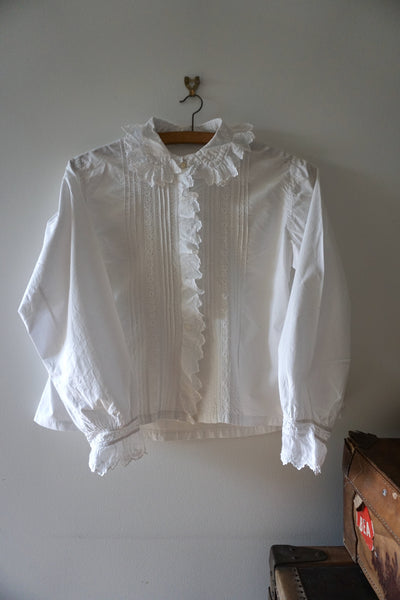 Antique French White Cotton Blouse Ruffle Collar