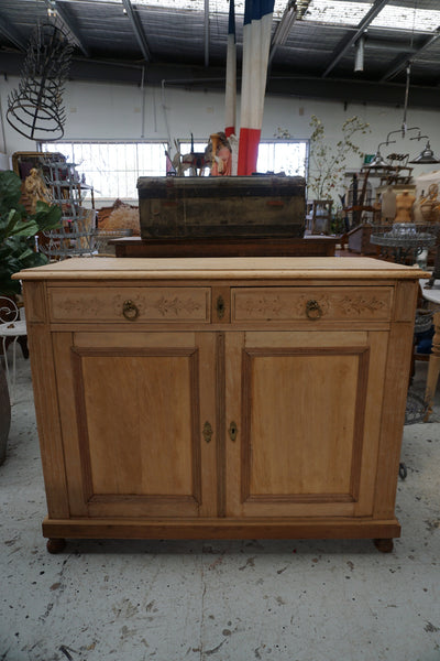 Antique French Beech and Mahogany 2 Door Sideboard