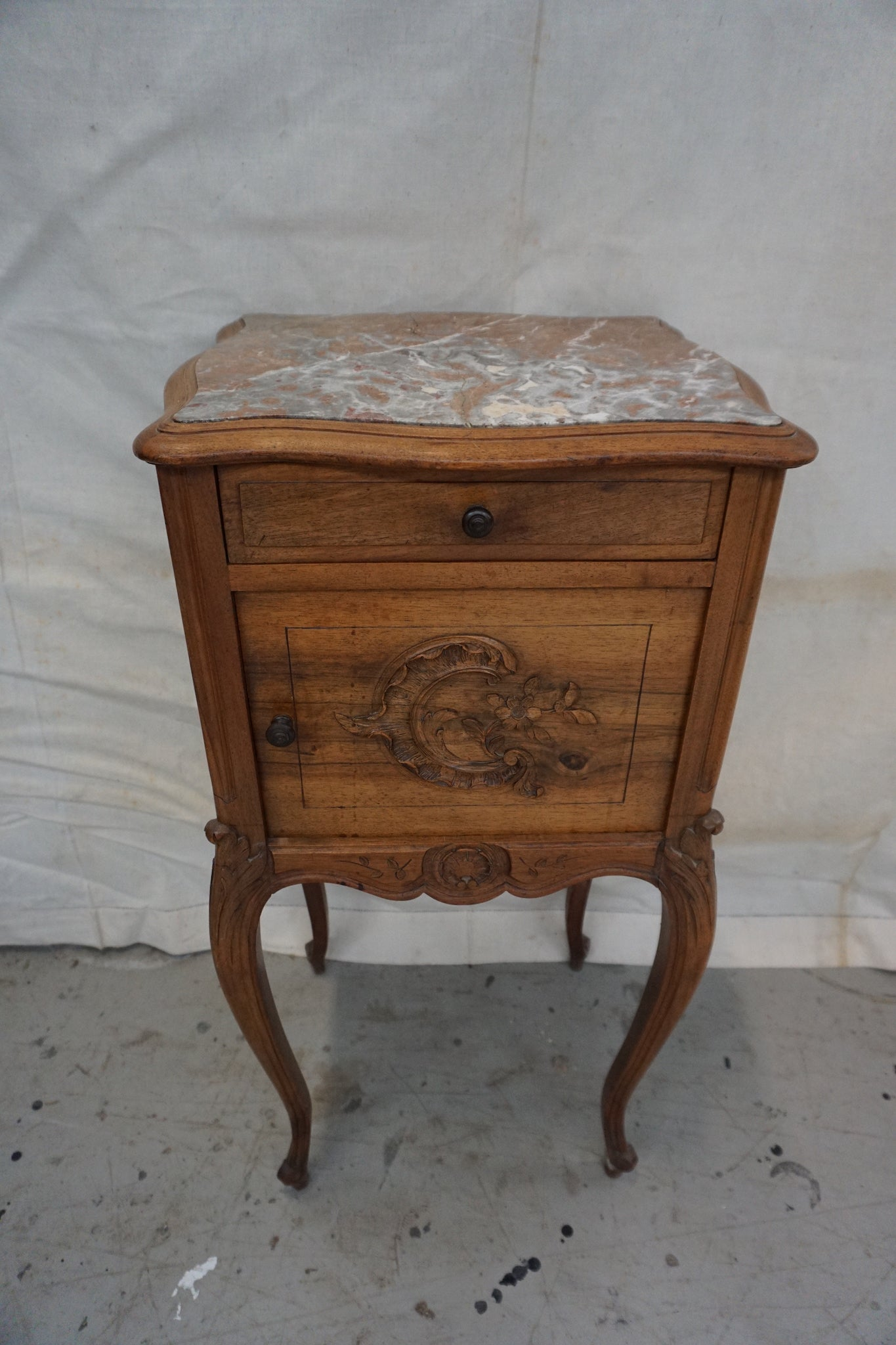 Antique French Bedside Table with Simple Carving