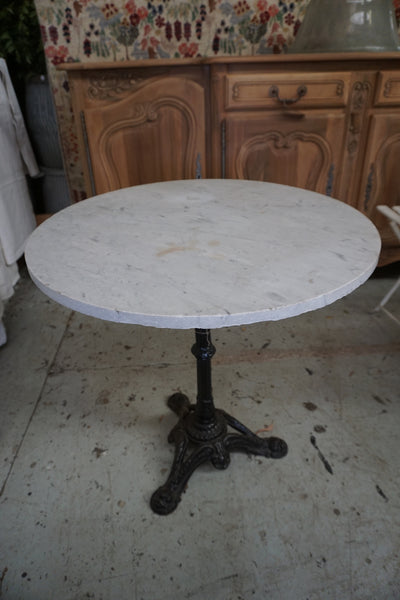 Antique French Bistro Table with Iron Base and Marble Top