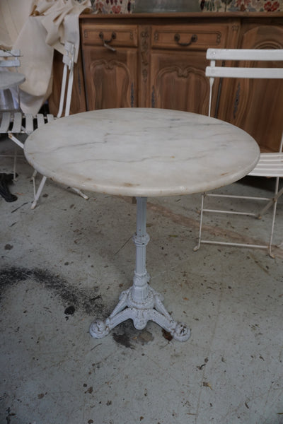 Antique French Bistro Table with Wrought Iron Base