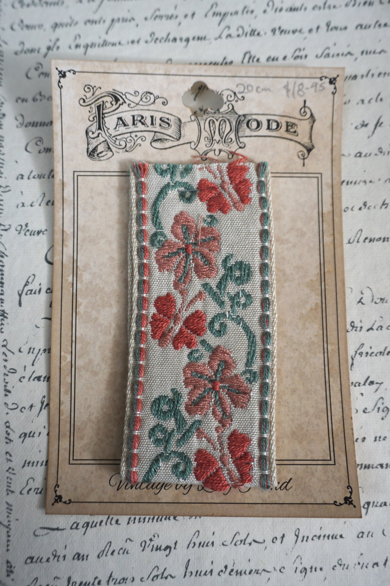 Antique French Cotton Braid With Butterflies & Flowers 1 pc