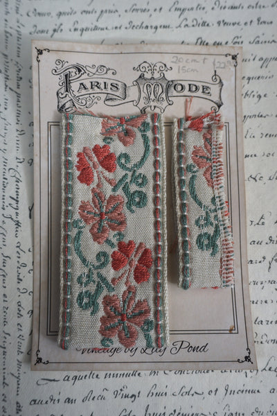 Antique French Cotton Braid With Butterflies & Flowers