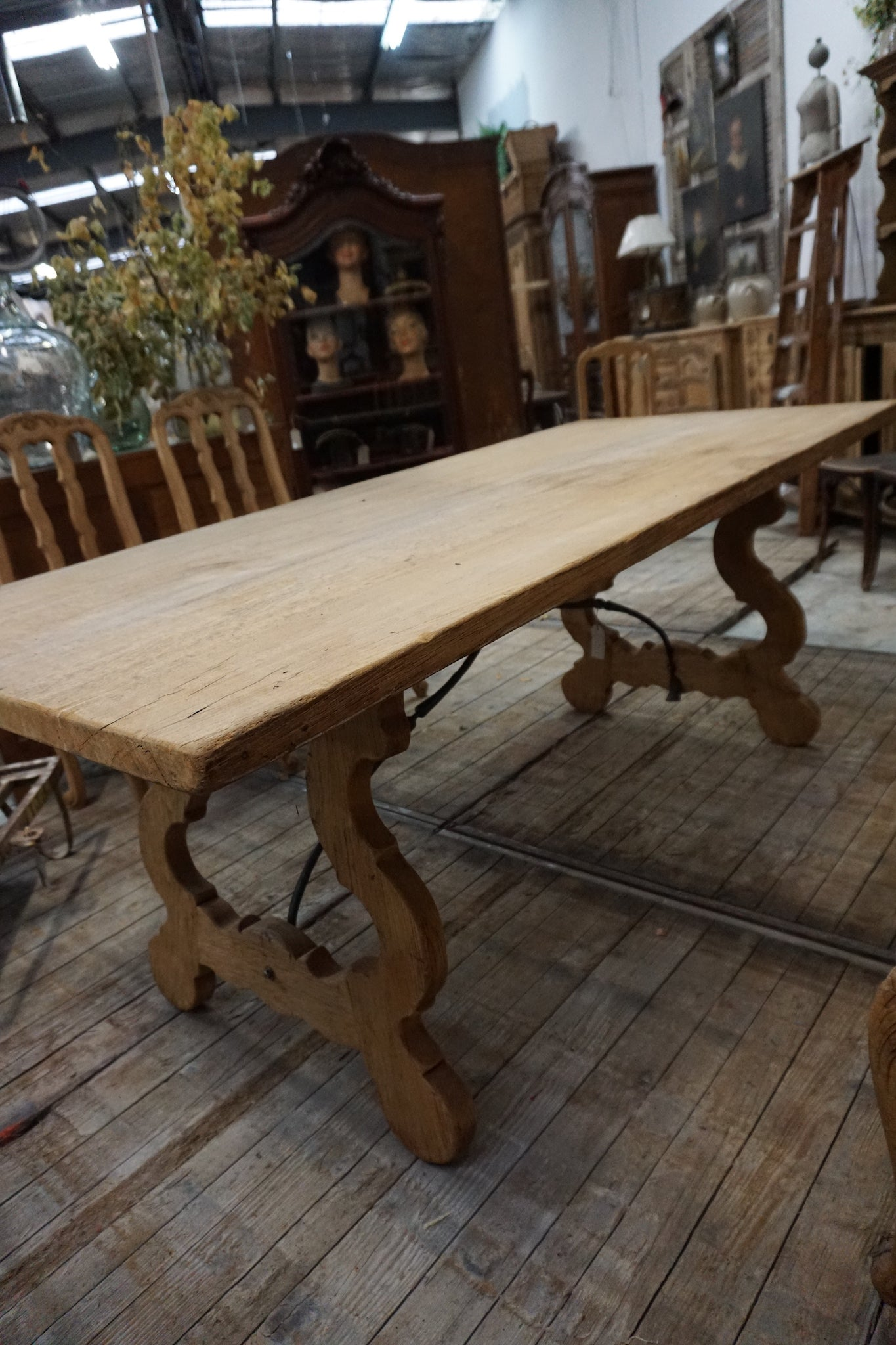 Antique French Dining Table with Wrought Iron Base