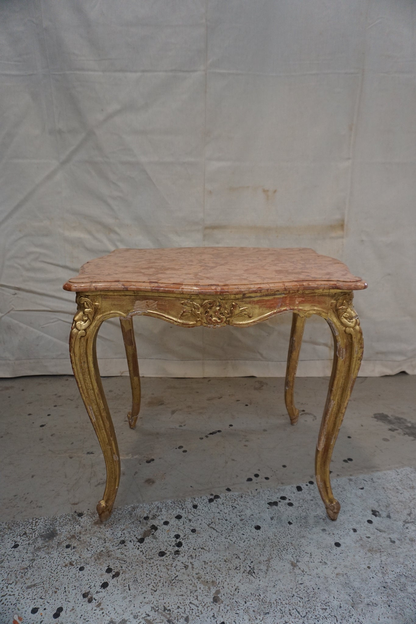 Antique French Gold Gilt and Marble Coffee Table