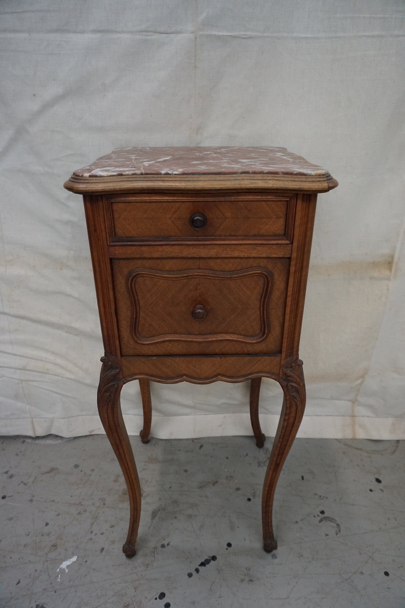 Antique French Louis XV Bedside Table with Marble Top
