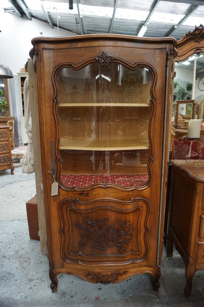 Antique French Walnut Bow Front Vitrine