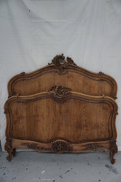 Antique French Oak Queen Size Bed