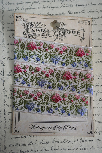 Antique French Pink/Green/Blue Silk Floral Ribbon