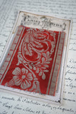 Antique French Red Silk Botanical Braid