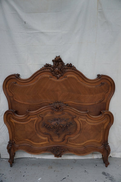 Antique French Walnut Double Bed with Flower Carving