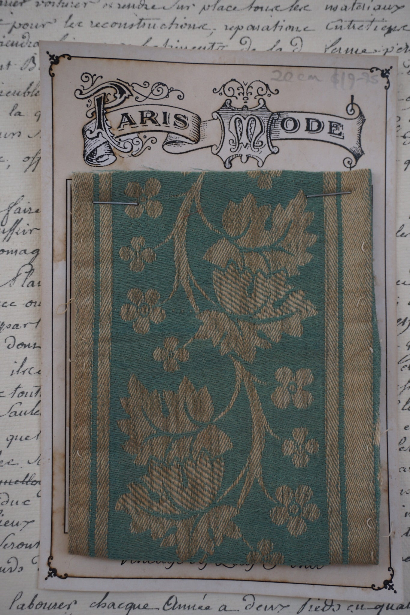 Antique French Silk and Cotton Botanical Braid