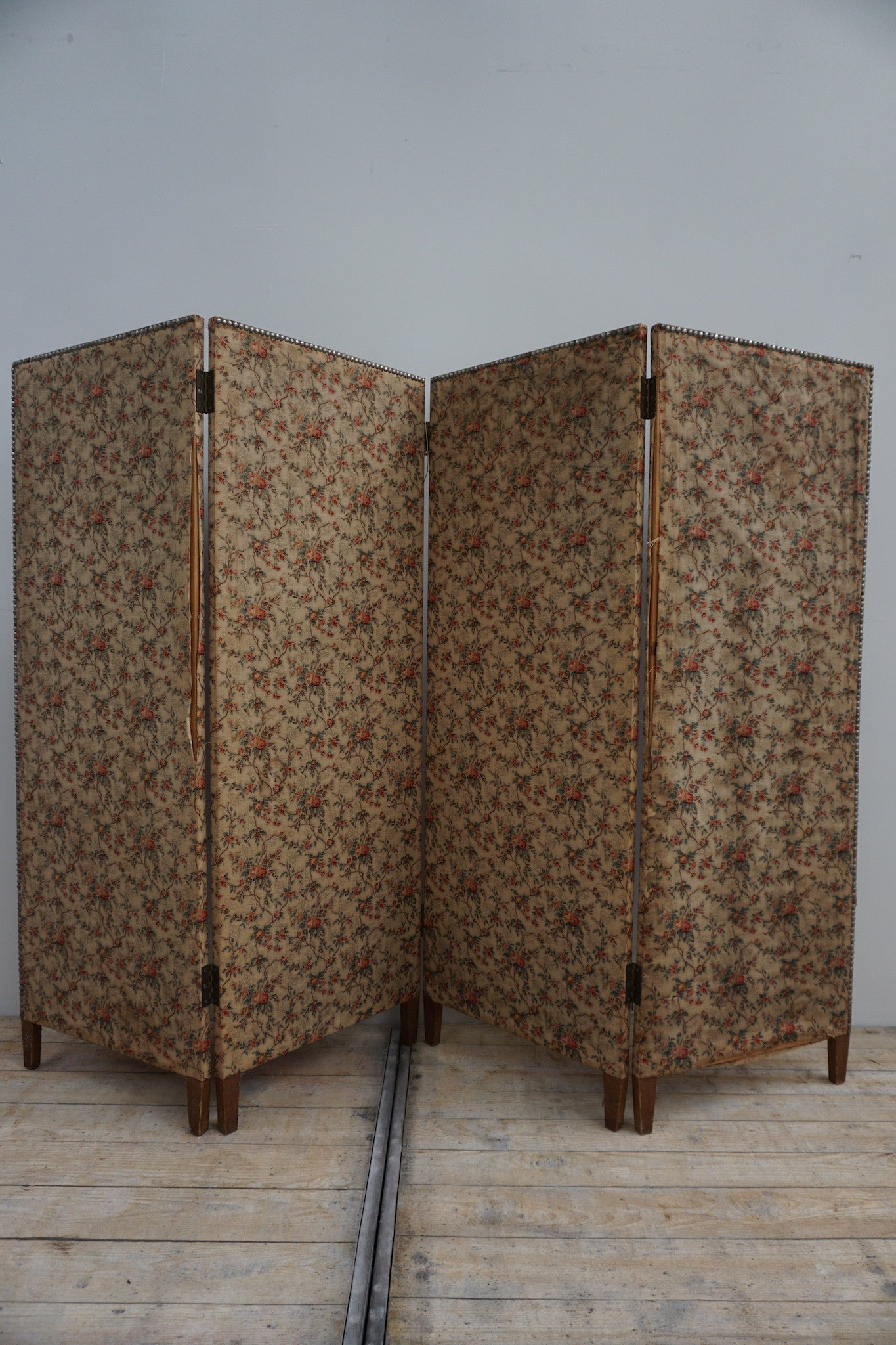 Antique French Fabric Screen