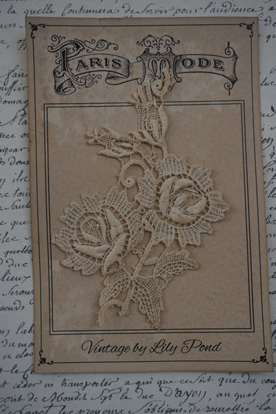 Antique French Cotton Rose Motif