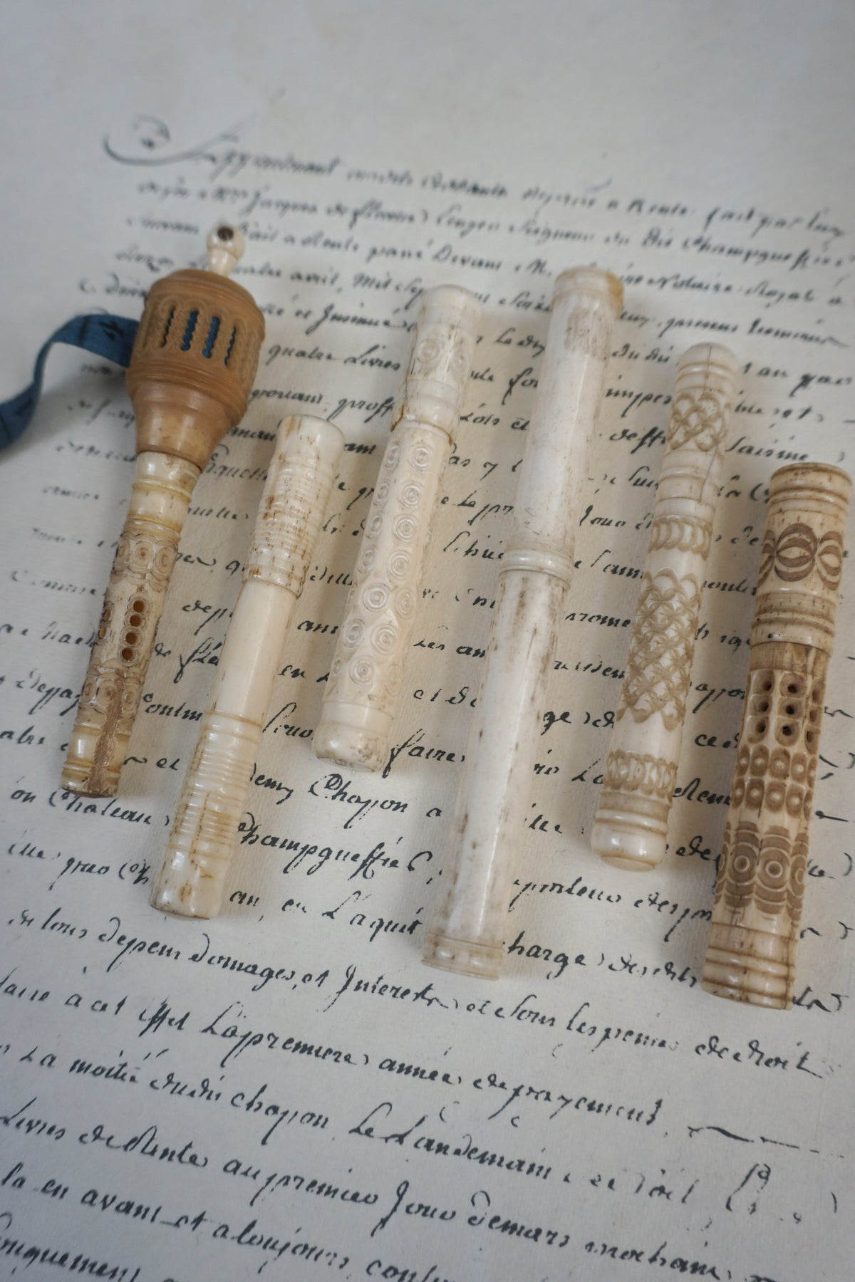 Antique French Hand Carved Bone Ivory Needle Cases Lily Pond