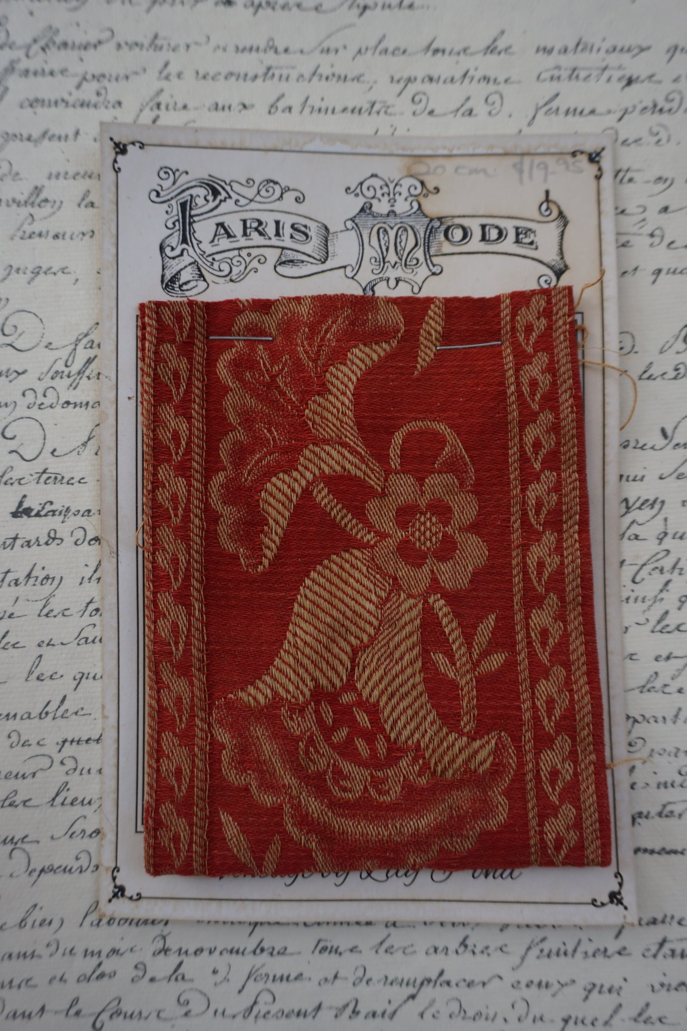 Antique French Red Cotton Jacquard Braid