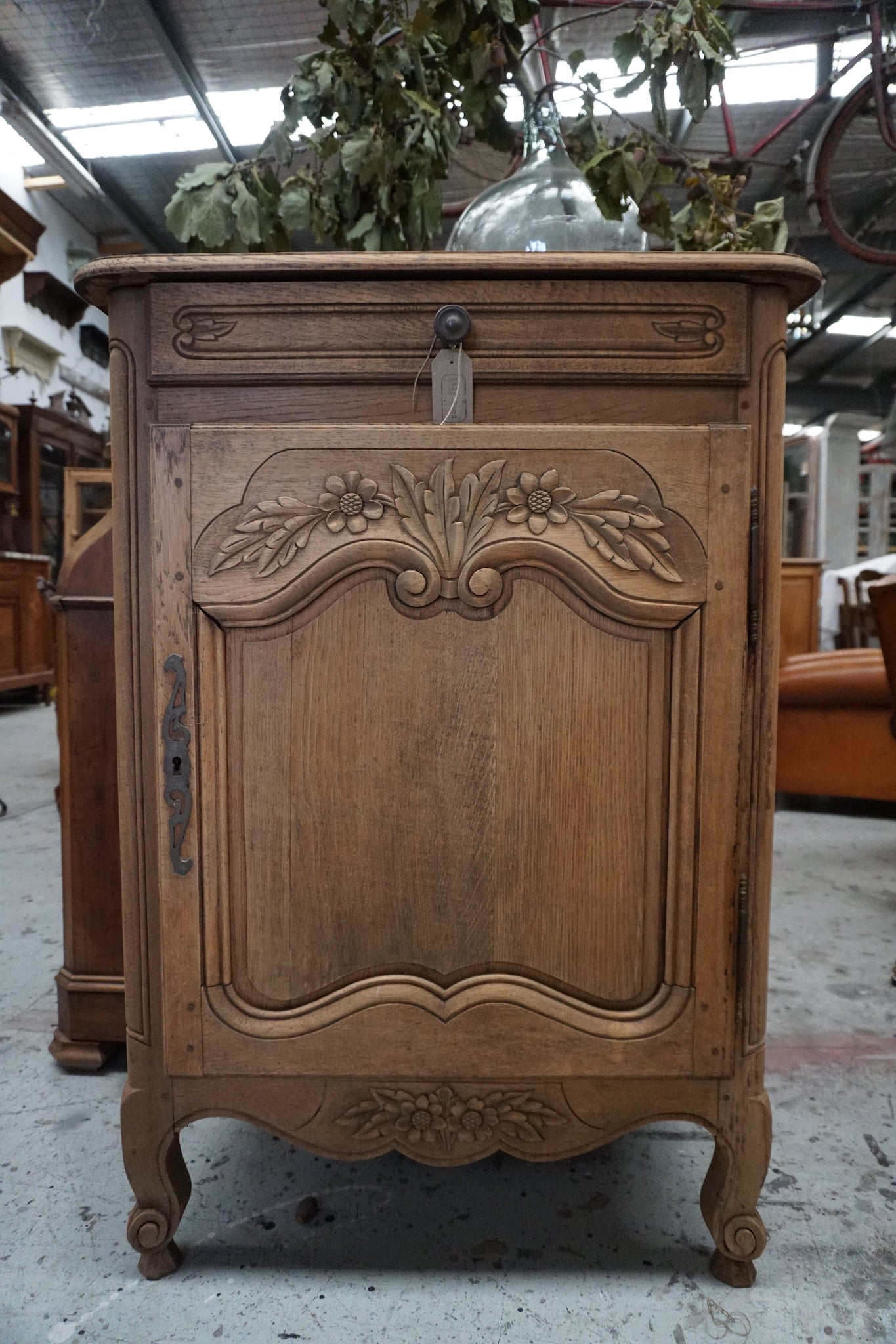 Antique French Single Door Confiturier with Raw Finish