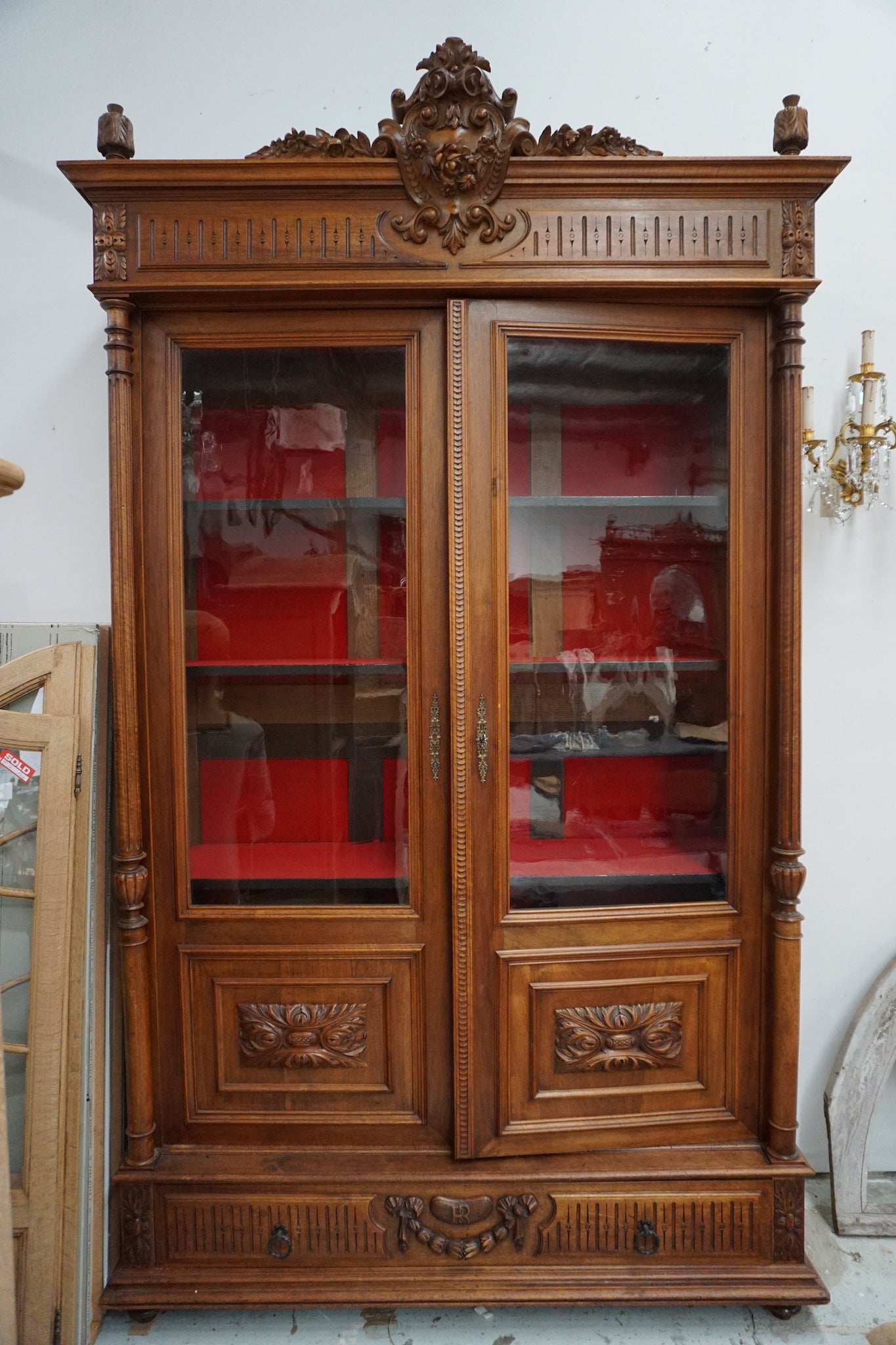 Antique French Walnut Vitrine
