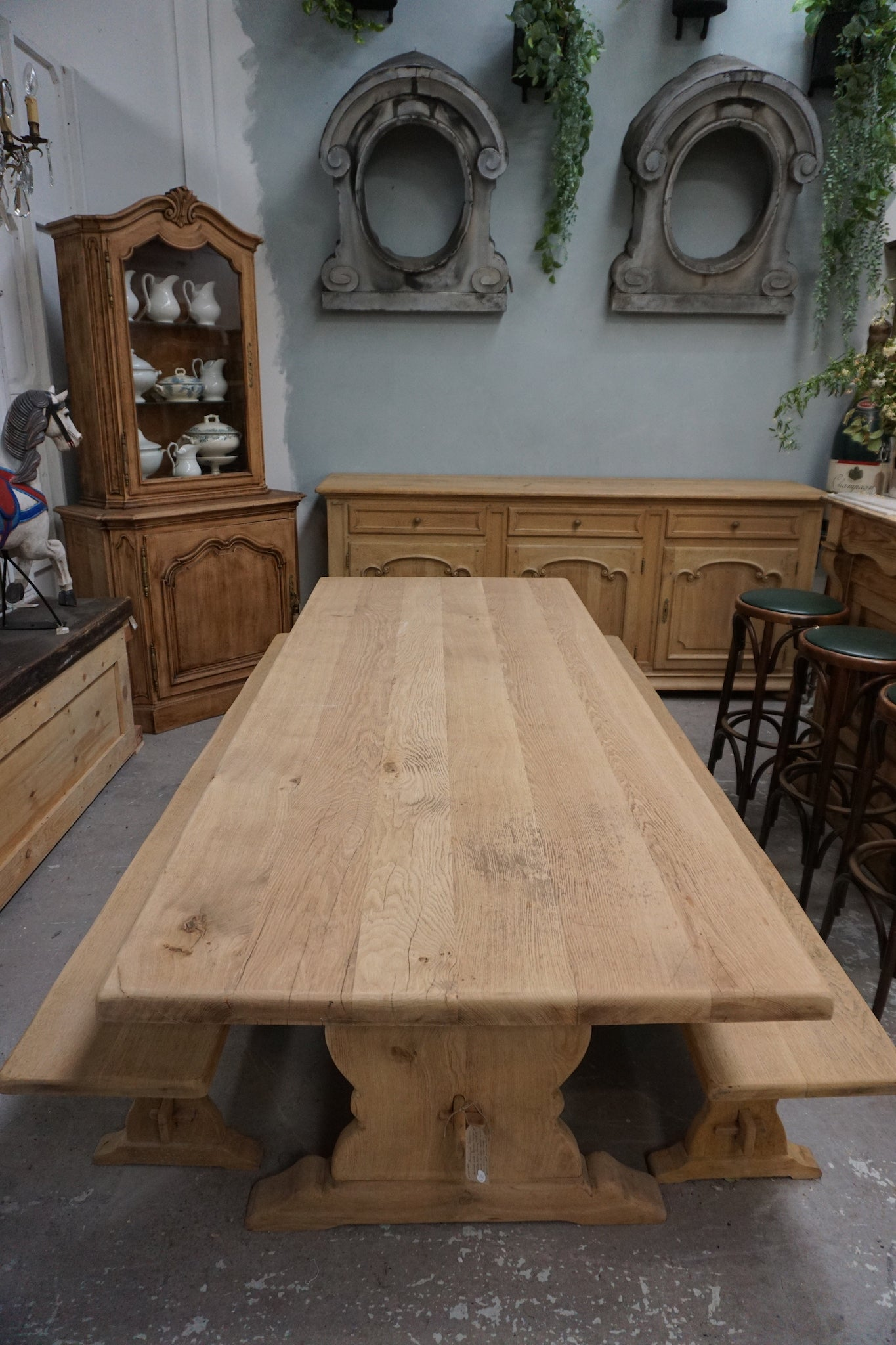 Huge Solid Oak Dining Table with Two Bench Seats