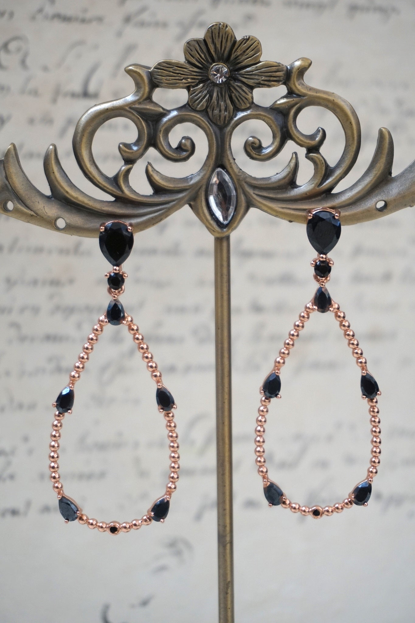 Italian black agate teardrop earrings
