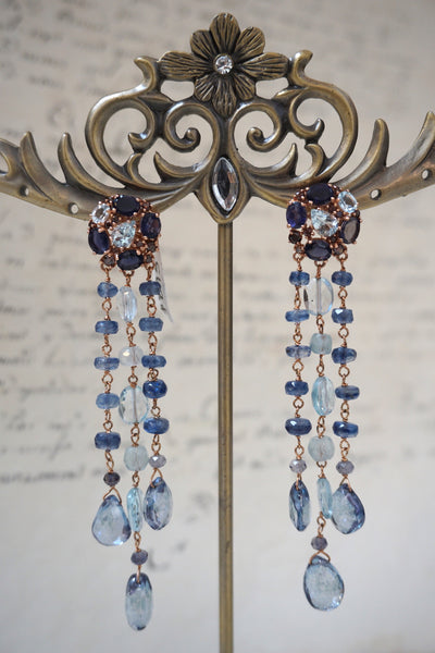Italian blue topaz & iolite long drop earrings