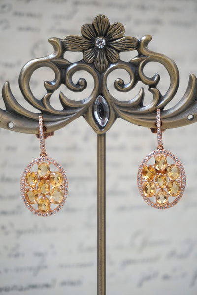 Italian citrine & swarovski crystal oval earrings