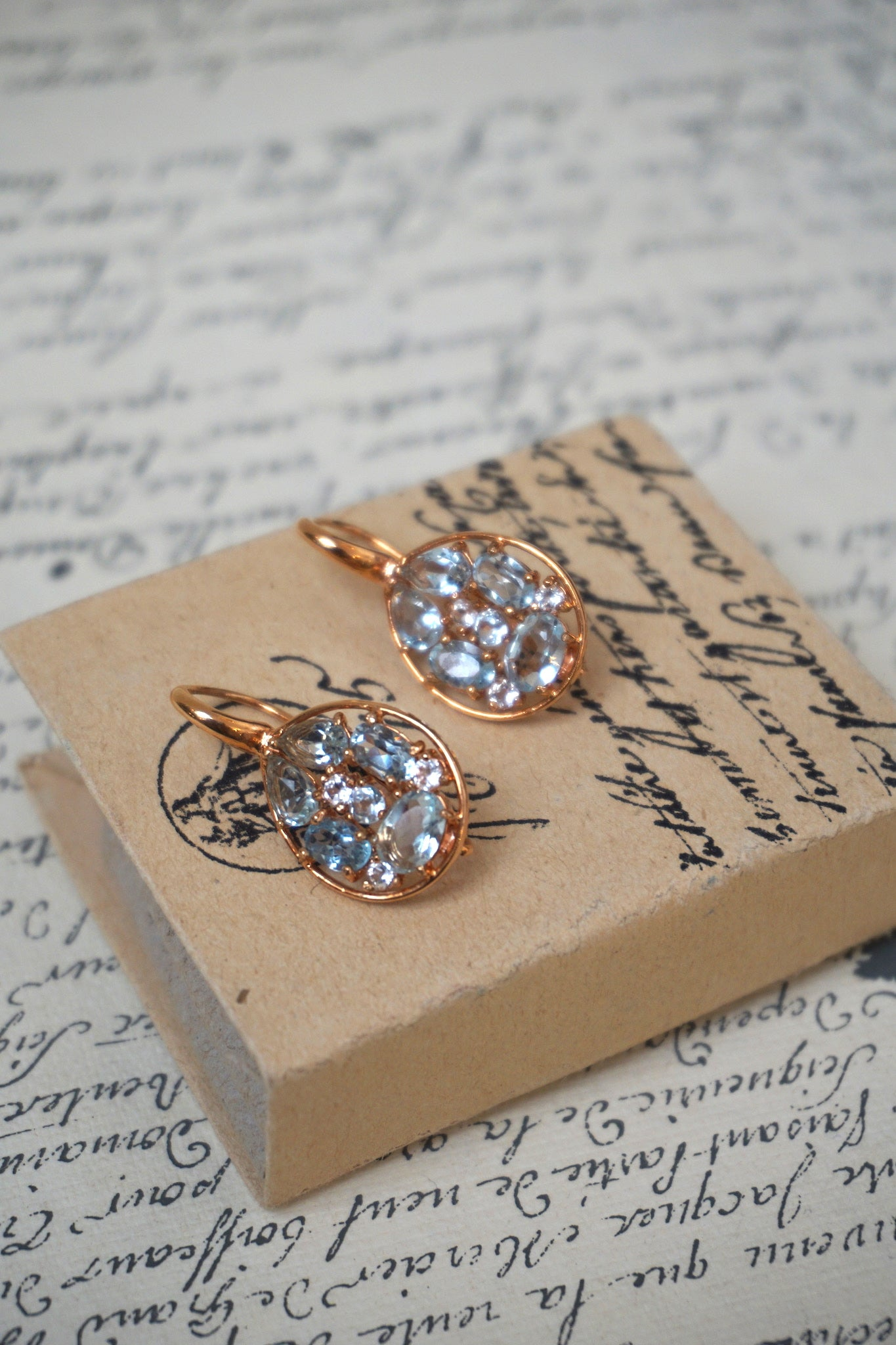 Italian small blue topaz teardrop earrings
