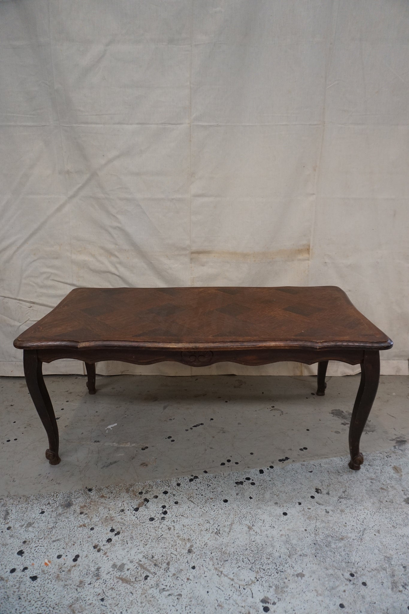 Long Vintage French Oak Coffee Table