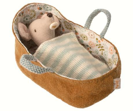 Maileg Baby Mouse in Carrier
