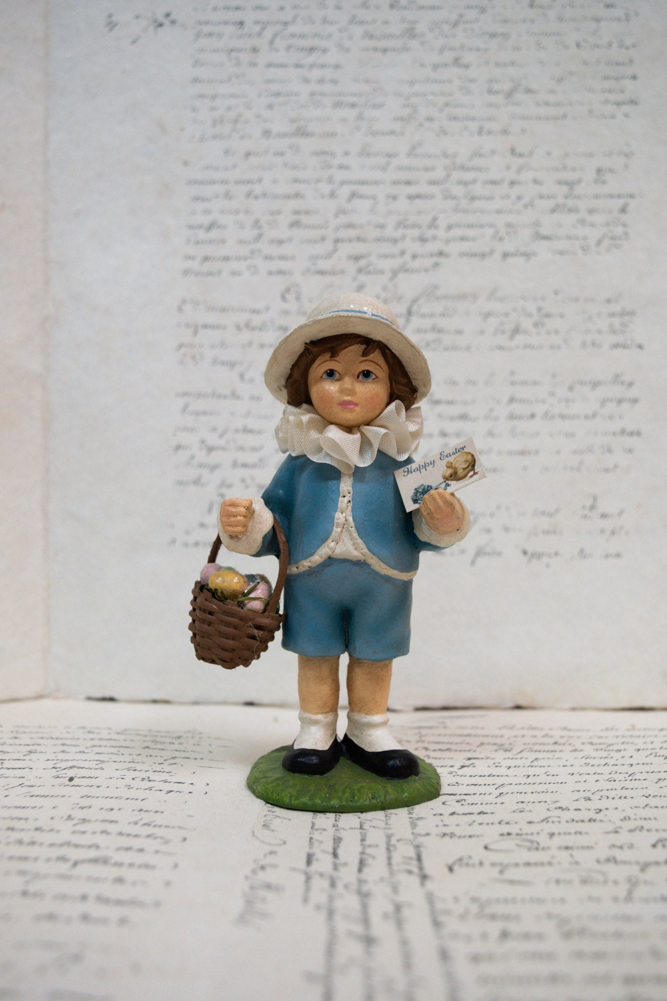 Nostalgic 'Easter Greetings Child' Standing Decoration