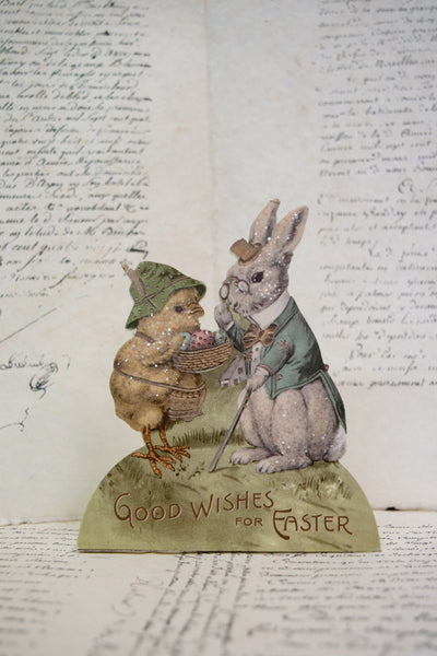 Nostalgic 'Good Wishes for Easter' Standing Decoration