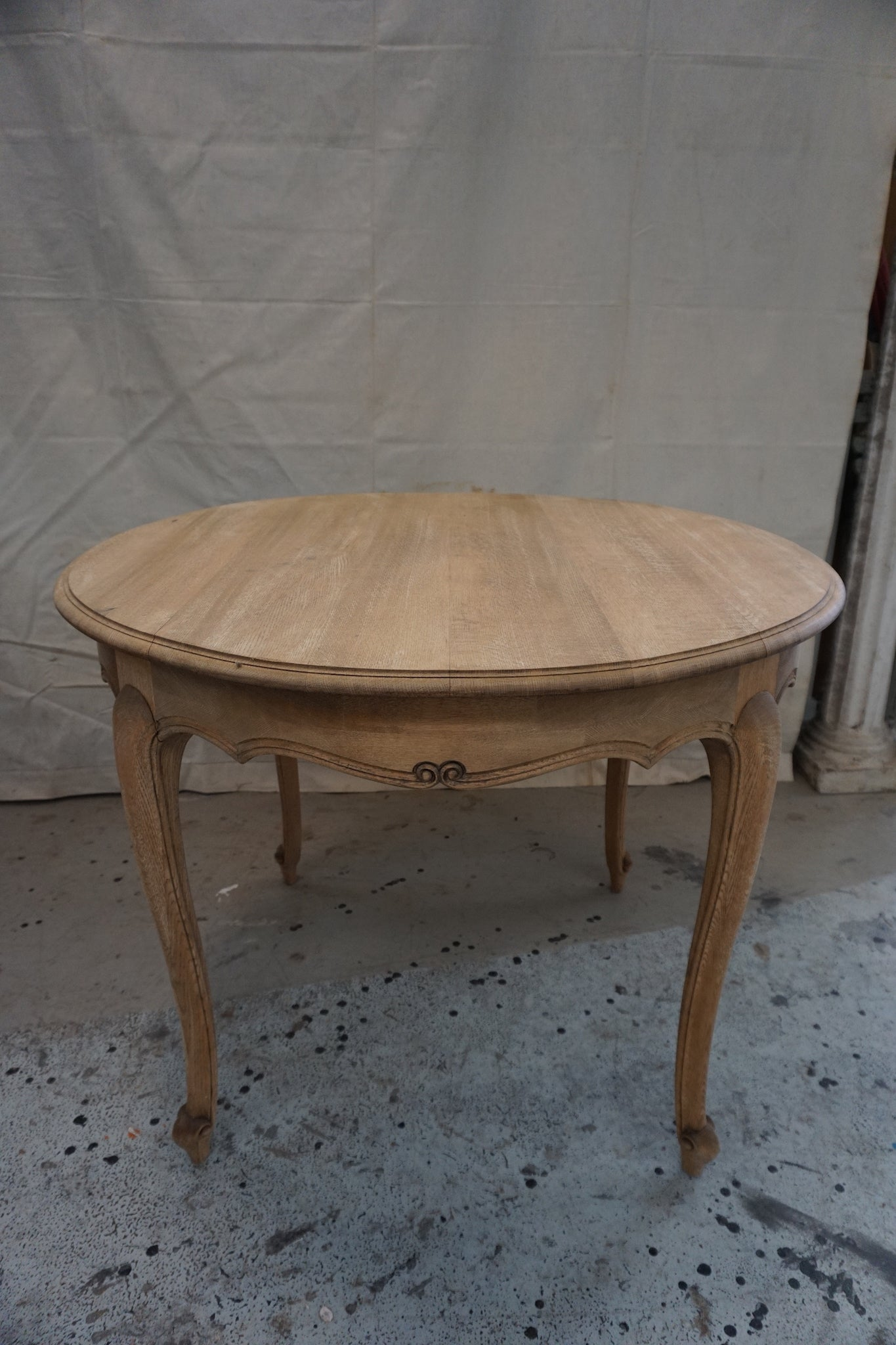 Raw Oak Round Dining Table with Cabriole Legs