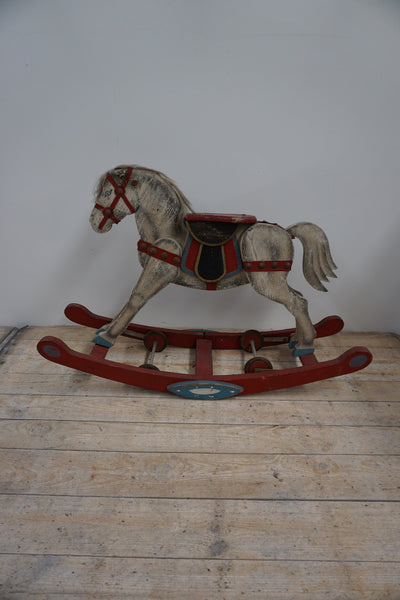 Antique French Wooden Rocking Horse