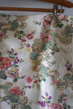 Vintage French Piece of Fabric With Green/Pink Floral Design 45x45cm