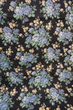 Vintage French piece of black cotton fabric with flower print 1m x 80cm