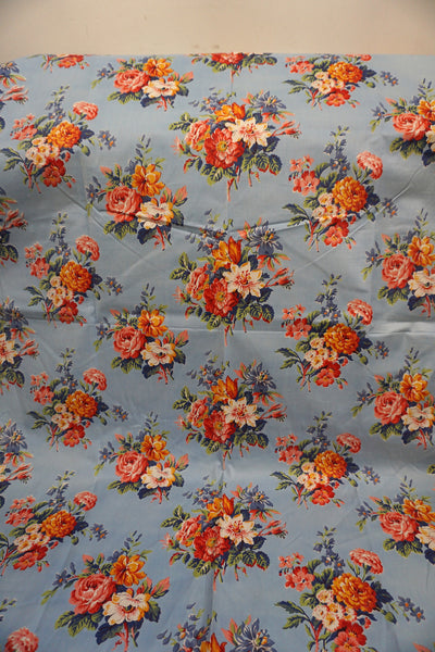 Vintage French piece of blue cotton fabric with flower print 1m x 80cm