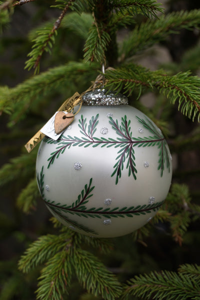 Walther & Co. Glass Pearlescent Pine Garland Ball