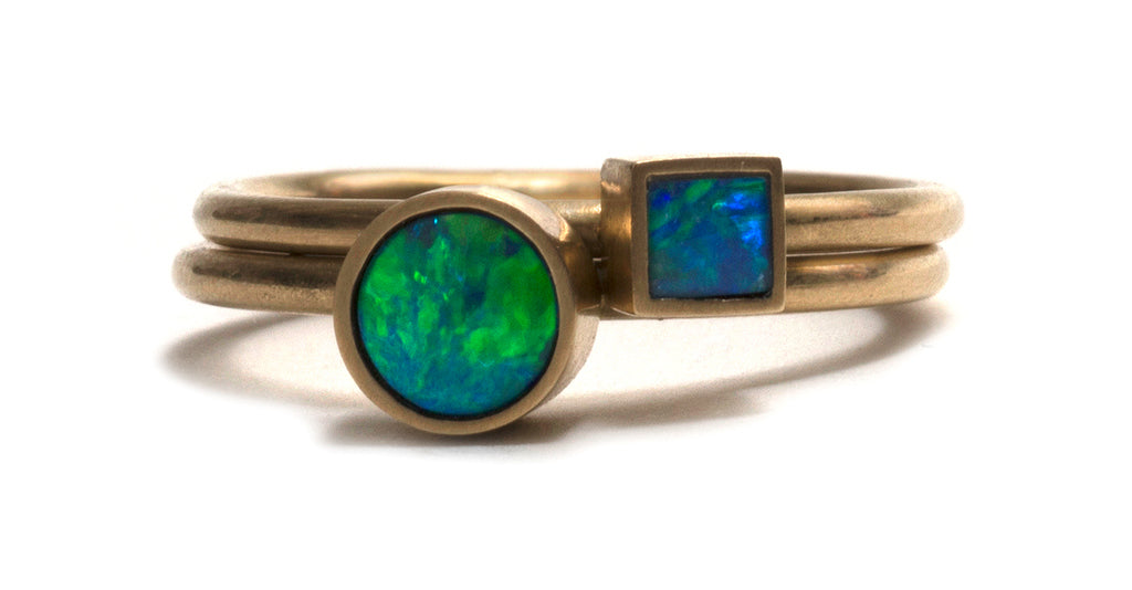 Golden Opal Element Stacking Rings by Melanie Katsalidis
