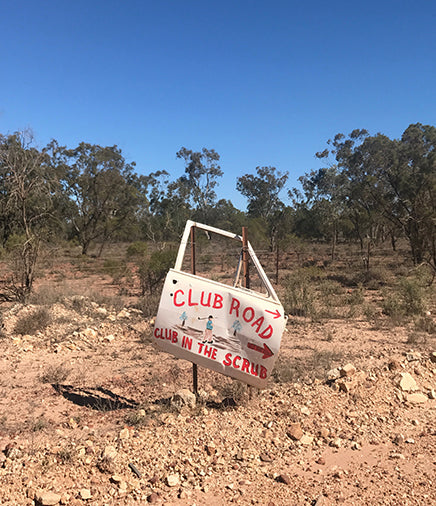 Club Road Club in the Scrub sign